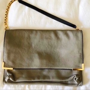 NEW Chloe grey and gold convertible clutch